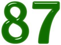 O numeral 87, oitenta e sete isolado no fundo branco, 3d rende ilustração do vetor