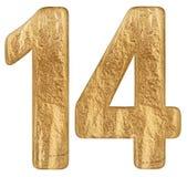 O numeral 14, quatorze, isolado no fundo branco, 3d rende ilustração stock