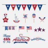 o 4o de elementos do projeto de julho, grupo para comemora o Dia da Independência Fotos de Stock Royalty Free