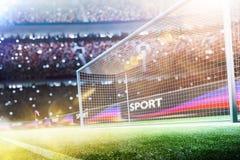 O objetivo do futebol do estádio ou o objetivo 3d do futebol rendem Imagens de Stock Royalty Free