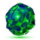 O objeto dimensional do pixel plástico, esmeralda pontilhou o isola geométrico ilustração royalty free