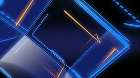O objeto do cubo da alta tecnologia transforma na obscuridade ilustração stock