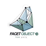 O objeto poligonal abstrato do wireframe 3d, vector geométrico Fotos de Stock Royalty Free