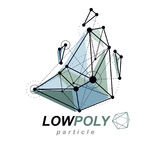 O objeto poligonal abstrato do wireframe 3d, vector o baixo político geométrico Imagens de Stock