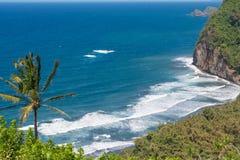 O oceano no vale de Pololu, Havaí Foto de Stock Royalty Free