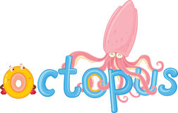 O for octopus. Illustration of o for octopus Stock Photography