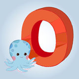 O Octopus Alphabet icon great for any use. Vector EPS10. Stock Photo