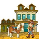 O oeste selvagem - ocidental - quadro - beira - molde - ilustração para as crianças Foto de Stock