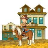 O oeste selvagem - ocidental - quadro - beira - molde - ilustração para as crianças Fotos de Stock