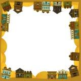O oeste selvagem - ocidental - quadro - beira - molde - ilustração para as crianças Fotos de Stock Royalty Free