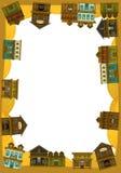 O oeste selvagem - ocidental - quadro - beira - molde - ilustração para as crianças Imagens de Stock Royalty Free