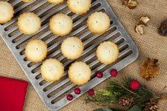 O oferecimento do Natal de mini fresco tritura tortas em uma cremalheira refrigerando Imagem de Stock Royalty Free