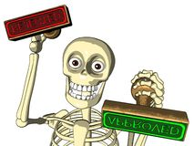 O oficial de esqueleto dá o selo aprovado/rejeitado ilustração stock
