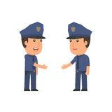 O oficial inteligente do caráter conclui o contrato do negócio com h ilustração stock