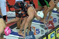 O olímpico e o recordista dinamarqueses correm o nadador Jeanette Ottesen do estilo livre Imagem de Stock