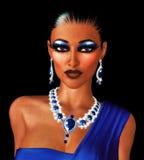 O olhar molhado do cabelo sere esta mulher elegante no vestuário e nas joias da noite. ilustração do vetor
