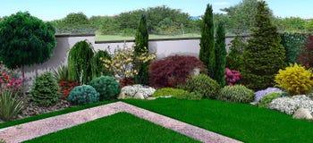 O olhar unificado do quintal, 3d rende ilustração do vetor