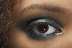 O olho da mulher com sombra para os olhos de prata Fotografia de Stock Royalty Free