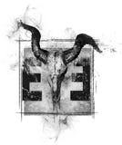 O olho do projeto do crânio do touro do illuminati ilustração stock