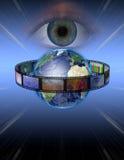 O olho presta atenção à película da terra ilustração stock