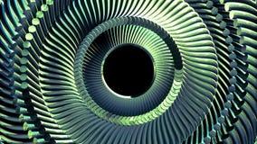 O olho verde de giro móvel da corrente do metal do líquido circunda a qualidade nova do fundo sem emenda dos gráficos do moviment ilustração stock