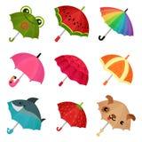 o ollection de guarda-chuvas coloridos bonitos vector a ilustração em um fundo branco ilustração stock