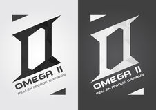 O omega alphabet and icon. Strong and sharp creative. Stock Images