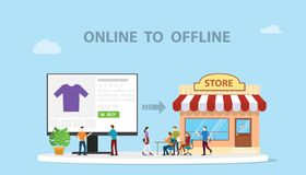 O2o online aan de off-line technologie van het e-commerce nieuwe concept met opslag en illustratie van de website de online moder stock illustratie
