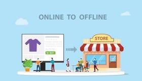 O2o online a tecnologia offline di nuovo concetto di commercio elettronico con l'illustrazione moderna online di stile del sito W illustrazione di stock