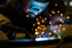 O operador claro intenso da soldadura virtual e que brilha Fotos de Stock Royalty Free