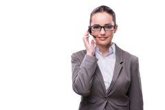 O operador do serviço de informações da mulher isolado no branco Imagem de Stock Royalty Free
