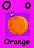 O is for orange. Learn the alphabet and spelling. O is for orange. Watercolour cartoon painting of an orange and a fly. Letter O, ABC kids wall art. Alphabet royalty free illustration