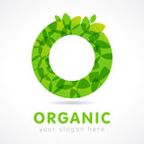 O organic green logo. O name logotype. Isolated abstract circle emblem. Trendy graphic leaves template. Healthy pure clear biotech corporate healthcare branding Stock Photo