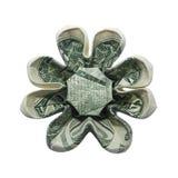 O origâmi do dinheiro oito pétalas FLORESCE o um dólar real Bill Isolated no fundo branco imagem de stock royalty free
