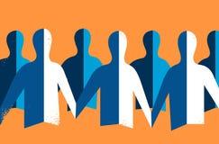 O origâmi do papel dos povos da comunidade conectou-se ilustração stock