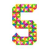 O origâmi numera efeito realístico de 5 um quinto origâmis 3D isolado Figura do alfabeto, dígito ilustração do vetor