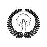 O ornamento da silhueta sae com a mão na forma da árvore Imagens de Stock