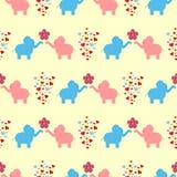 O ornamento de um par loving de elefantes, de flores e de corações Teste padrão sem emenda para miúdos ilustração stock