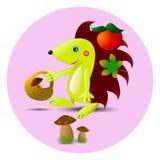 O ouriço bonito recolhe maçãs e cogumelos na floresta Fotografia de Stock Royalty Free