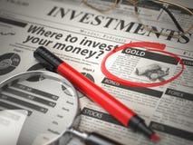 O ouro é uma melhor opção para investir onde investir o conceito, investe fotografia de stock royalty free