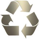 o ouro 3d recicl o símbolo Fotos de Stock