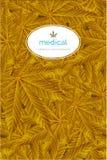 O ouro abstrato da folha do cannabis, folhas da marijuana modela a ilustra??o do vetor do fundo ilustração royalty free