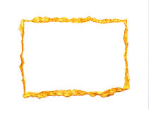 O ouro abstrato pintou o quadro em um fundo branco com lugar para seu texto Foto de Stock