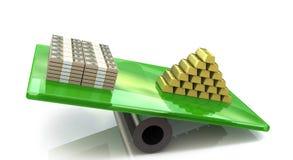 O ouro aumenta o dólar Fotografia de Stock