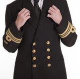 O ouro coloriu botões e trança em um uniforme Fotos de Stock