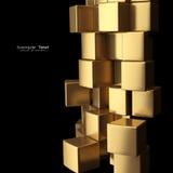 O ouro cuba o fundo abstrato Imagens de Stock Royalty Free