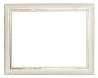 O ouro decorou a moldura para retrato de madeira larga branca Fotos de Stock Royalty Free