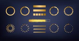 O ouro do brilho sparkles ilustração do grupo dos ícones do carregador ou do preloader do amortecedor do Web site da barra Transf ilustração stock
