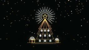 O ouro do Natal e do ano novo esboça o molde do cartão video estoque