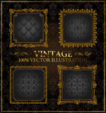 O ouro do vintage do vetor molda a etiqueta do ornamento Foto de Stock Royalty Free